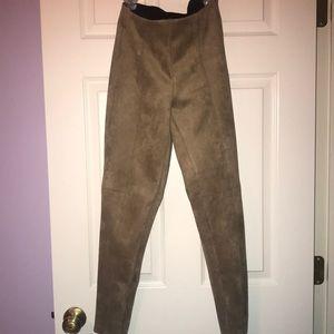 Khaki suede pants